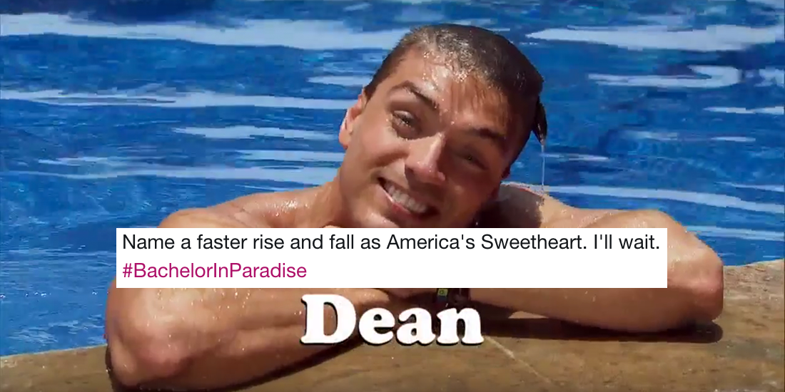 dean bachelor in paradise intro tweet